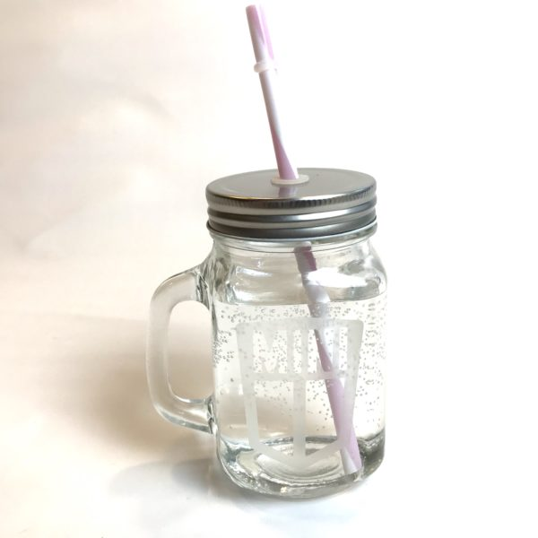 Etched Mason Drinking jar Pink/White
