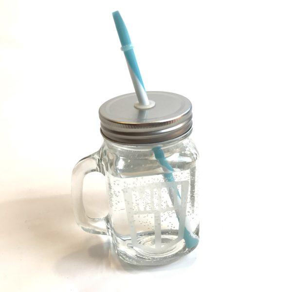 Mason drinking jar blue_white